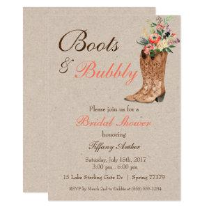 Boots & Bubbly Western Country Bridal Shower Invitation starting at 2.51