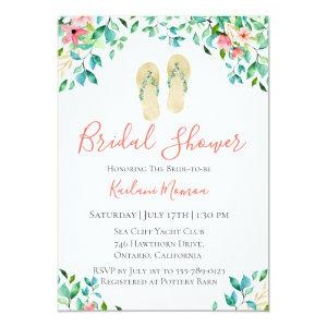 Botanical Floral Flip Flops Bridal Shower Invitation starting at 2.51