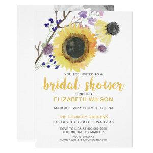 Botanical Watercolor Sunflowers Bridal Shower Invitation starting at 2.50