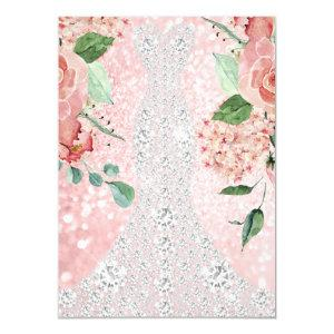 Bridal Dress Spark Rose Floral Pink Rose Florals Invitation starting at 2.10