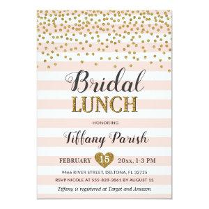 Bridal Lunch Invitations Blush Pink Gold Stripes starting at 2.45