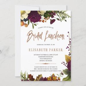 Bridal luncheon fall floral copper bridal shower invitation starting at 2.45