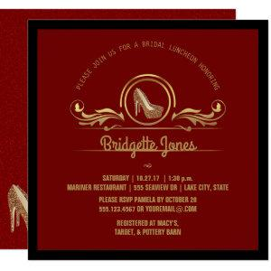 Bridal Luncheon Gold Red | Wedding Bridal Shower Invitation starting at 2.30