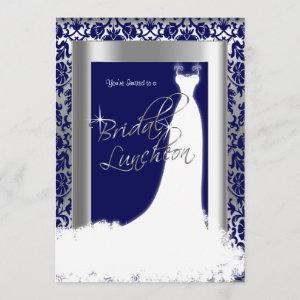 Bridal Luncheon in Navy Blue Damask & Silver Invitation starting at 2.51