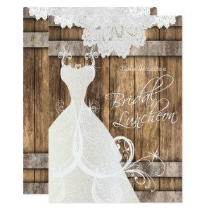 Bridal Luncheon in Rustic Wood and Lace Invitation starting at 2.51