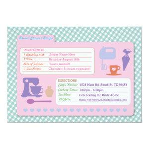 Bridal Shower Baking Recipe Card Bake Party Invite starting at 2.51