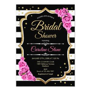Bridal Shower - Black White Stripes and Pink Roses Invitation starting at 2.35