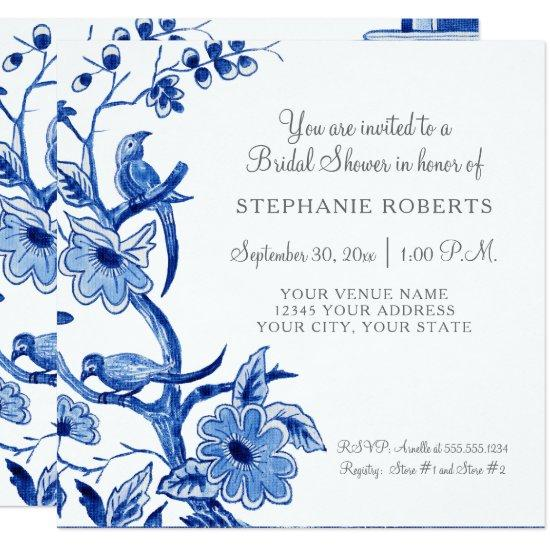 Bridal Shower Blue Chinoiserie Floral Watercolor Invitation