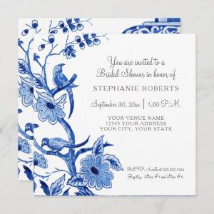 Bridal Shower Blue Chinoiserie Floral Watercolor Invitation starting at 2.51