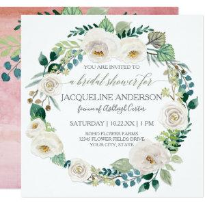 Bridal Shower Blush Pink White Roses Leaves Wreath Invitation starting at 2.51