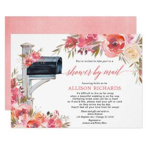 Bridal shower by mail pink coral floral botanical invitation starting at 2.55