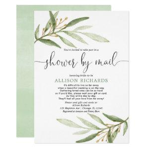 Bridal shower by mail simple greenery gold elegant invitation starting at 2.55