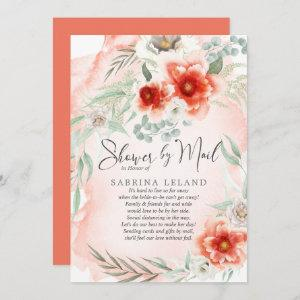 Bridal Shower by Mail Watercolor Coral Flowers Invitation starting at 2.51
