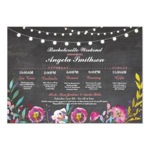 Bridal Shower Chalk Coral Itinerary Bachelorette Invitation starting at 2.51