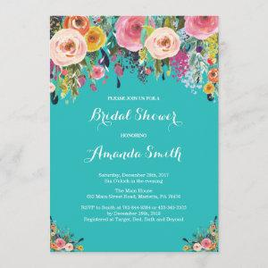 Bridal Shower Floral Flowers Teal Turquoise Aqua Invitation starting at 2.35