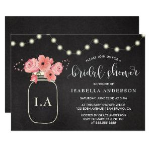 Bridal Shower | Floral Jar & Lights on Chalkboard Invitation starting at 2.21