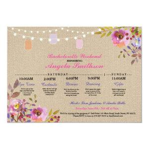 Bridal Shower Floral Jars Itinerary Bachelorette Invitation starting at 2.51