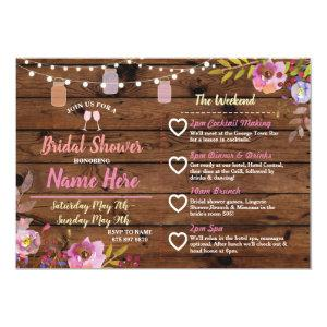 Bridal Shower Floral Jars Pink Itinerary Wood Invitation starting at 2.51