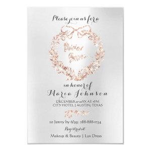 Bridal Shower Floral Wreath Silver Pink Rose Gold Invitation starting at 1.95