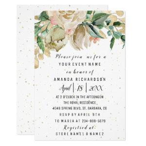 Bridal Shower Flower Brunch Greenery White Confett Invitation starting at 1.95