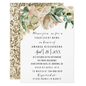 Bridal Shower Flower Brunch Greenery White Glitter Invitation starting at 1.95