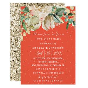 Bridal Shower Flower Brunch Mint Coral Watercolor Invitation starting at 1.95