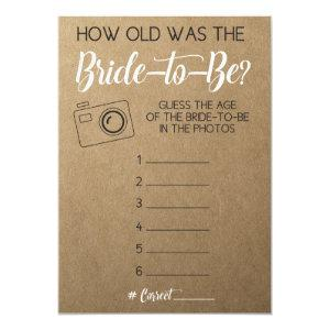 Bridal Shower Game- Guess Bride's Age from Photo Invitation starting at 2.66