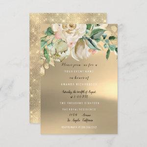 Bridal Shower Gold Mint Paint Flower Watercolor Invitation starting at 1.95