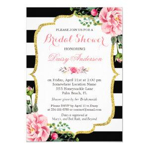 Bridal Shower Gold Pink Floral Black White Stripes Invitation starting at 2.30