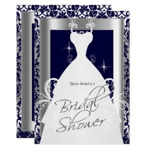 Bridal Shower in Navy Blue 2 Damask and Silver Invitation starting at 2.40