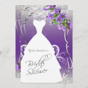 Bridal Shower in Purple and Silver Glitter Invitation starting at 2.40