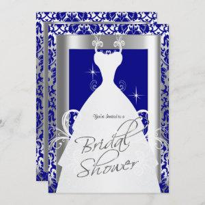 Bridal Shower in Royal Blue Damask and Silver Invitation starting at 2.40