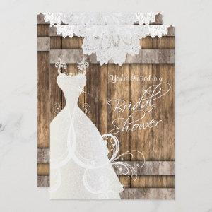 Bridal  👰 Shower in Rustic Wood and Lace  💕 Invitation starting at 2.40