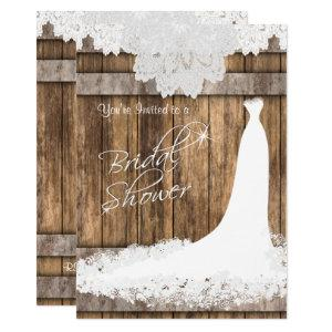 Bridal 👰  Shower in Rustic Wood & White Lace Invitation starting at 2.40