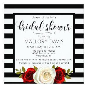 Bridal Shower Invitation Black White Stripes Rose starting at 2.25