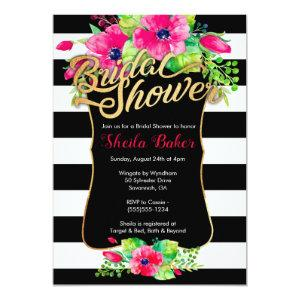 Bridal Shower Invitation - Floral Striped starting at 2.66