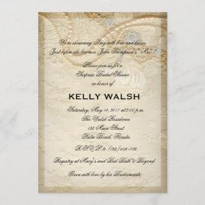 Bridal Shower Invitation Lace and Pearls starting at 2.82