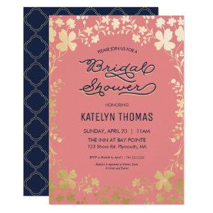 Bridal Shower Invitation, Navy, Coral, Gold Floral Invitation starting at 2.25