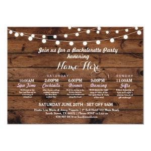 Bridal Shower Itinerary Bachelorette Rustic Lights Invitation starting at 2.51