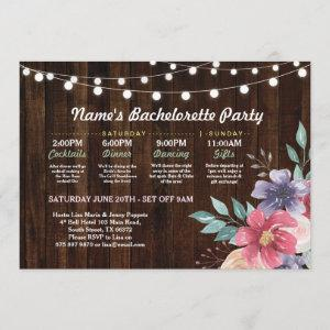 Bridal Shower Itinerary Pink Flower Rustic Lights Invitation starting at 2.51