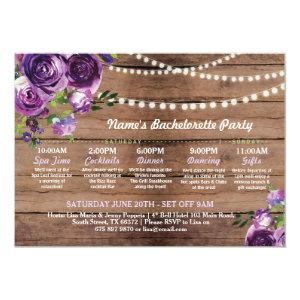 Bridal Shower Itinerary Purple Flower Lights Invitation starting at 2.51