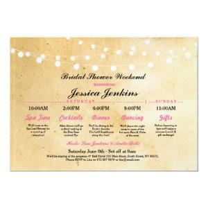 Bridal Shower Itinerary Rustic Pink Bachelorette Invitation starting at 2.51