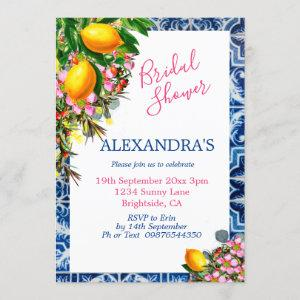 Bridal Shower Lemons Floral Blue White Tile Invitation starting at 2.50