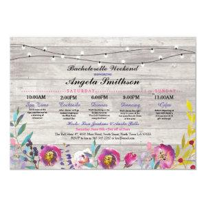 Bridal Shower Lights Floral Itinerary Wood Vintage Invitation starting at 2.51