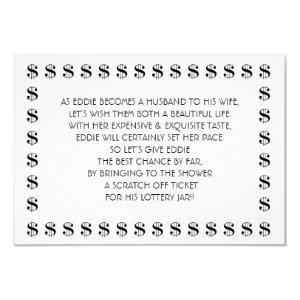 Bridal Shower Lottery Card for Groom starting at 2.20