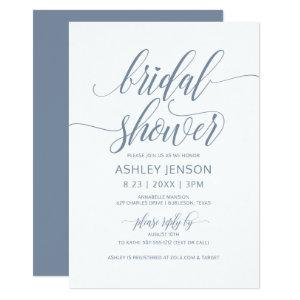 Bridal Shower Luxe Calligraphy Dusty Blue Floral Invitation starting at 2.51