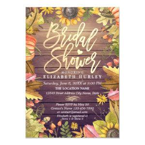 Bridal Shower Maple Leaves Pumpkins Sunflower Wood Invitation starting at 2.40