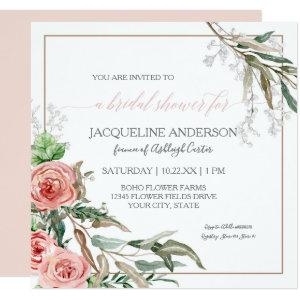 Bridal Shower Modern Floral Eucalyptus Watercolor Invitation starting at 2.51