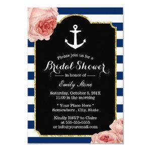 Bridal Shower Nautical Anchor Vintage Floral Invitation starting at 2.00