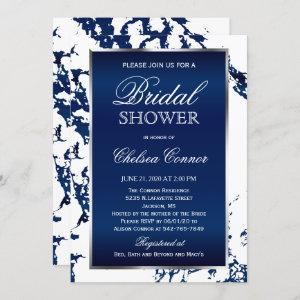 Bridal Shower - Navy Blue Marble, White & Silver Invitation starting at 2.40